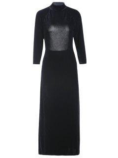 High Slit Mock Neck Velvet Backless Dress - Black 2xl
