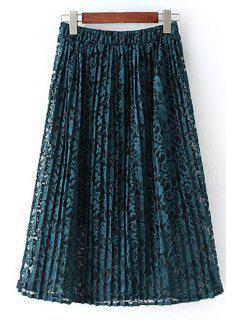 A-Line Pleated Lace Skirt - Green