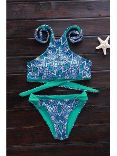 Green Print High Neck Bikini Set - Green M