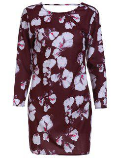 Backless Flower Print Round Collar Long Sleeve Dress - Dark Red 2xl