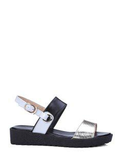 Color Block Embossing Platform Sandals - Black 39