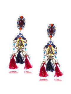 Retro Faux Crystal Tassel Earrings