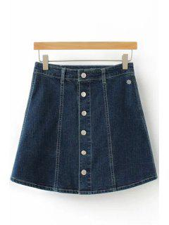A-Line Single-Breasted Denim Skirt - Deep Blue Xl