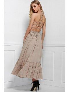 Color Sólido Abierta Cabestro Vestido Sin Mangas Volver - Gris Xl