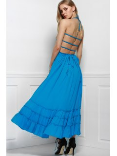 Solid Color Open Back Halter Sleeveless Dress - Light Blue L