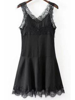 Lace Spliced V-Neck Solid Color Dress - Black M