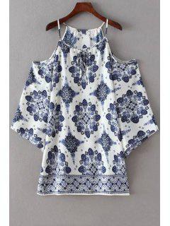 Cold Shoulder Spaghetti Straps Printed Dress - White S