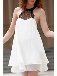 Double-Layered Halter Lace Spliced Chiffon Dress - White Xl