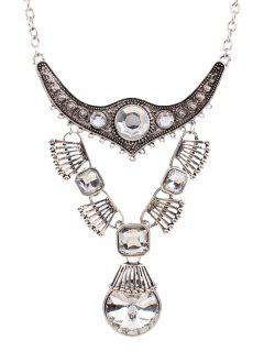 Punk Faux Crystal Water Drop Necklace - Silver