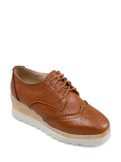 Engraving Lace-Up Square Toe Platform Shoes - Brown 39