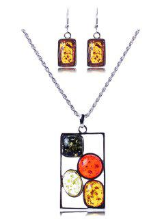 Geometric Faux Amber Necklace And Earrings - Silver