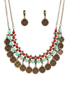 Ethnic Coin Tassel Necklace And Earrings - Golden