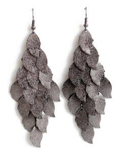 Exquisite Multi-Layered Leaf Shape Earrings - Black