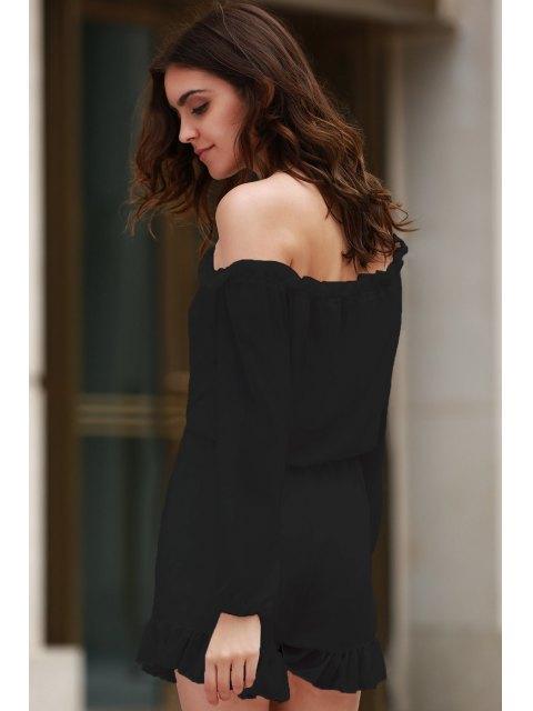 chic Solid Color Off The Shoulder Long Sleeve Romper - BLACK S Mobile