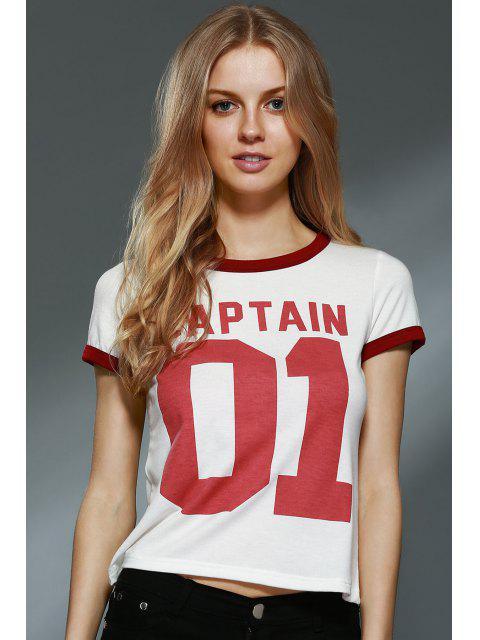Lettre Imprimer col rond manches courtes T-shirt - Blanc Cassé L Mobile