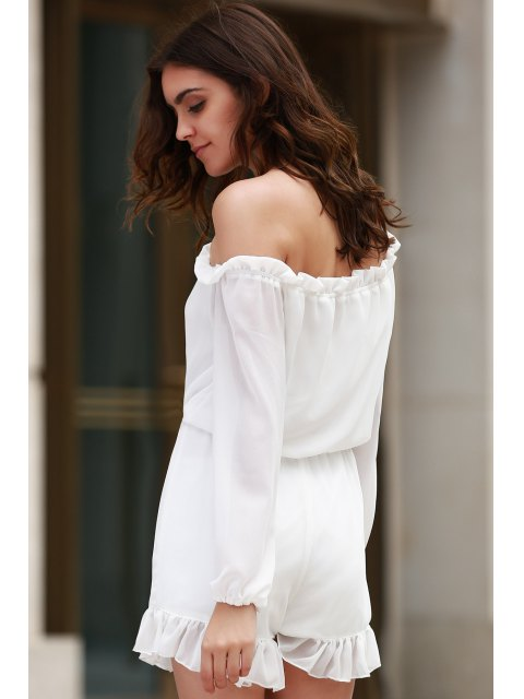 womens Solid Color Off The Shoulder Long Sleeve Romper - WHITE S Mobile