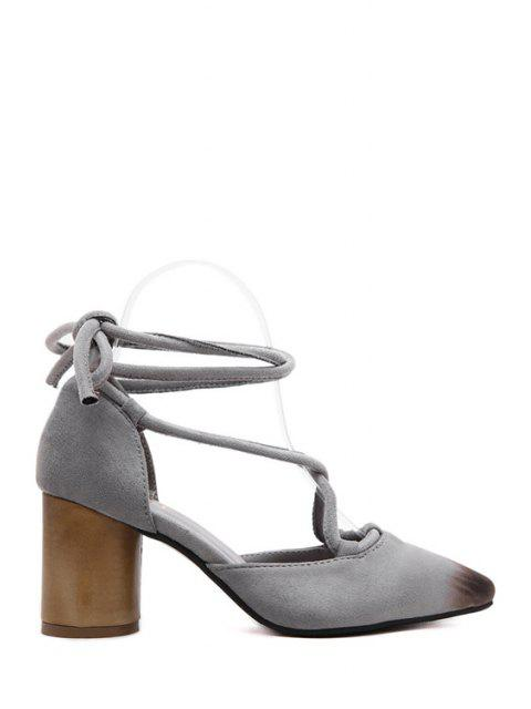 new Cross-Strap Flock Chunky Heel Pumps - GRAY 39 Mobile