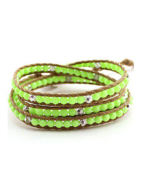 shops Bead Multi-Layered Wrap Bracelet - GREEN  Mobile