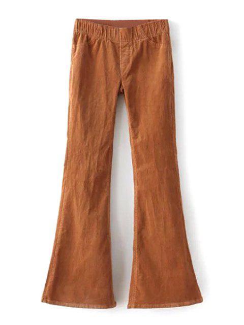 Pleuche Stretchy Taille Basse Large Pantalon Jambe - Kaki M Mobile