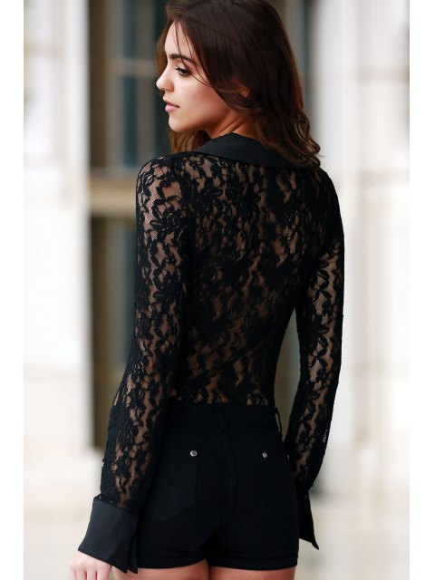 outfit Sheer Floral Lace Zipped Bodysuit - BLACK M Mobile