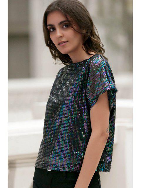 Manches courtes pailletée Sparkly T-shirt - Noir M Mobile