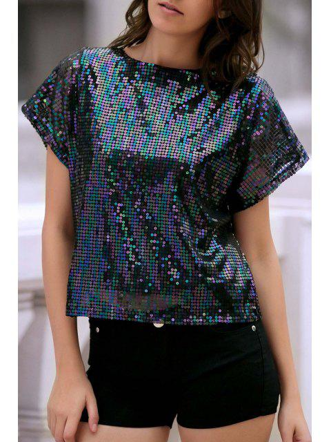 ladies Short Sleeve Sequined Sparkly T-Shirt - BLACK M Mobile