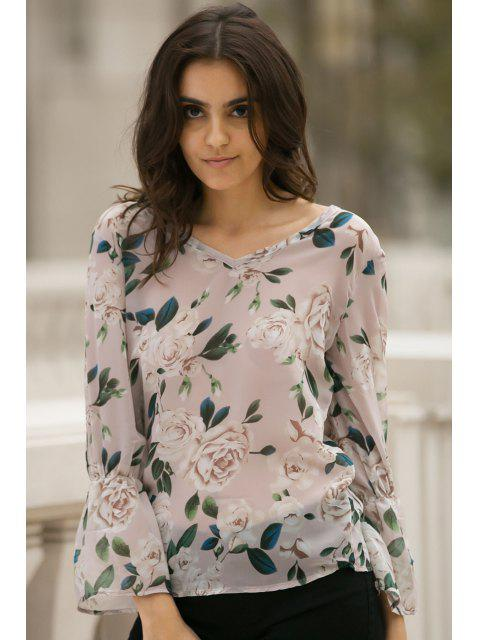 unique Flower Print V Neck Flare Sleeve Chiffon Blouse - PINK L Mobile