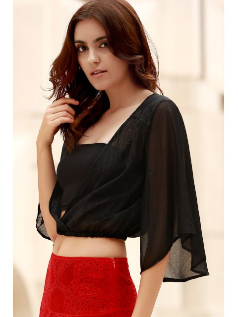 buy Flare Sleeve Cropped Chiffon Top - BLACK 2XL Mobile