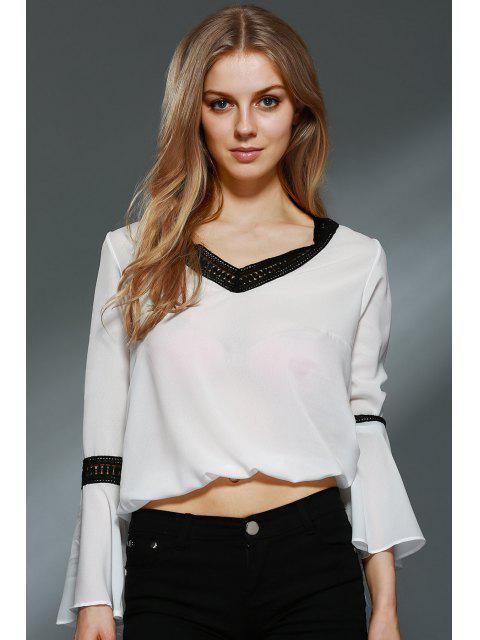 Dentelle Spliced V-Neck Blouse de Bell Sleeve - Blanc M Mobile