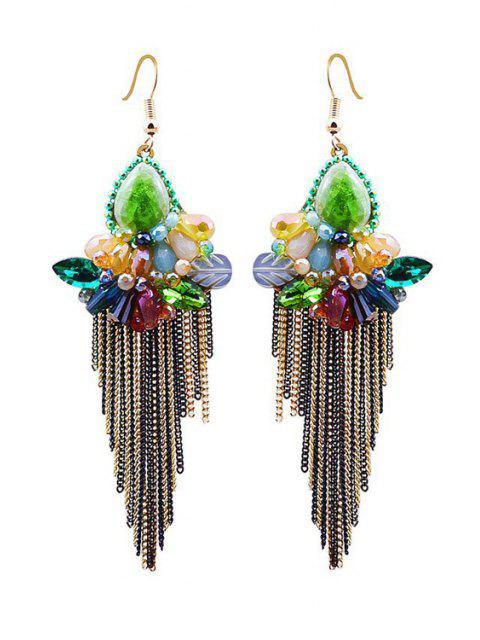 Charme Faux Fleur de cristal Tassel Boucles d'oreilles - Multicolore  Mobile