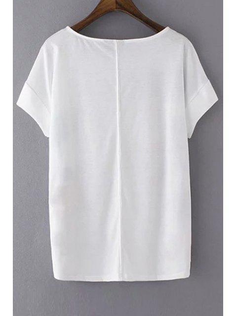 shops Loose Tiger Print Round Neck Short Sleeve T-Shirt - WHITE M Mobile