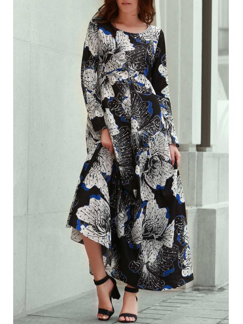 latest Long Sleeve Large Floral Prom Dress - BLACK S Mobile