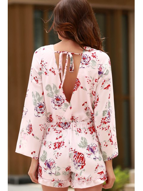 affordable Cross-Over Collar Long Sleeve Floral Playsuit - PINK XS Mobile