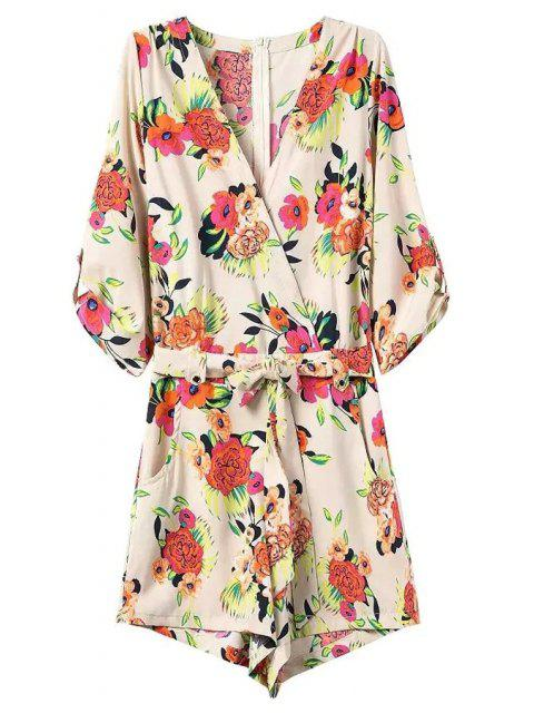 fashion Casual Flower Print V Neck 3/4 Sleeve Playsuit - OFF-WHITE S Mobile