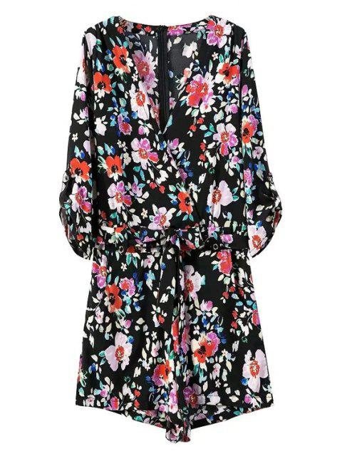 shops Floral Print V Neck 3/4 Sleeve Romper - BLACK S Mobile