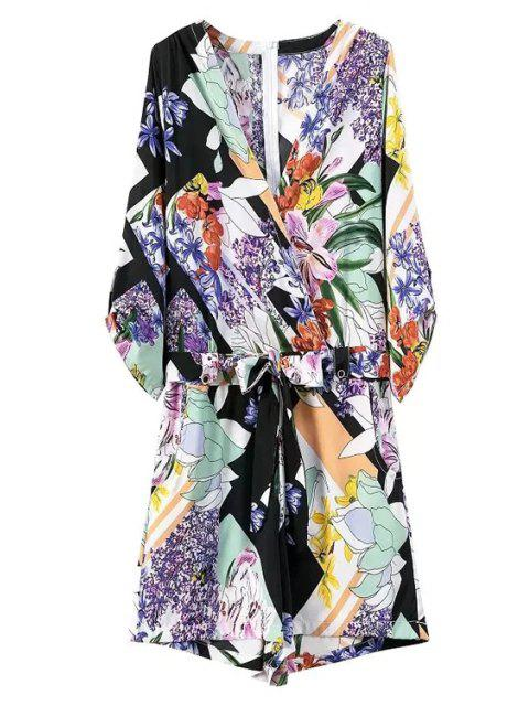 outfits Floral Print V Neck 3/4 Sleeve Romper - BLUE M Mobile