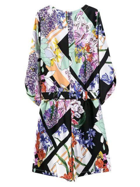 outfits Floral Print V Neck 3/4 Sleeve Romper - BLUE M Mobile