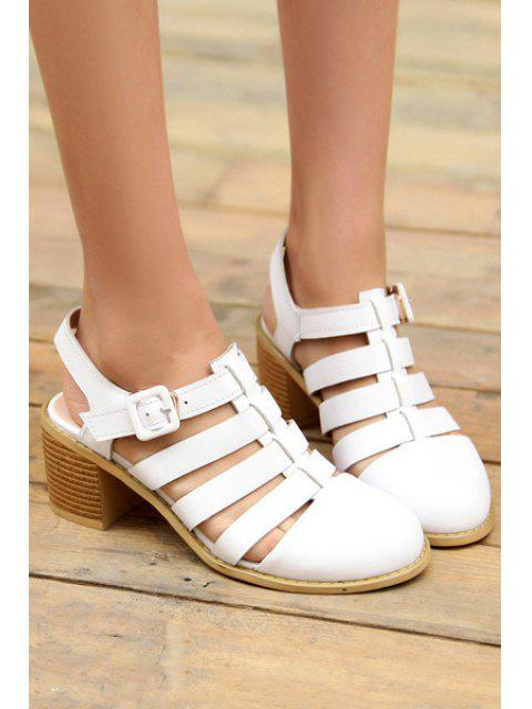 ladies Closed Toe Buckle Chunky Heel Sandals - WHITE 38 Mobile