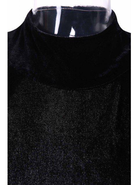 lady High Slit Mock Neck Velvet Backless Dress - BLACK 2XL Mobile