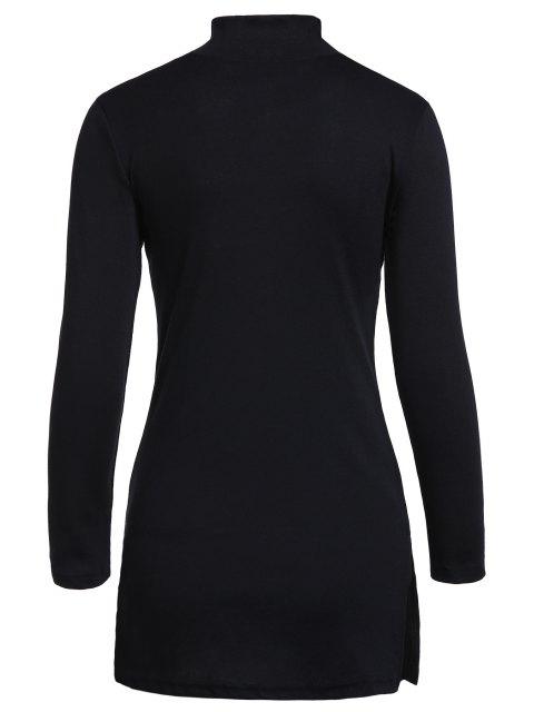 fashion Black Side Slit Turtle Neck Long Sleeves T-Shirt - BLACK S Mobile