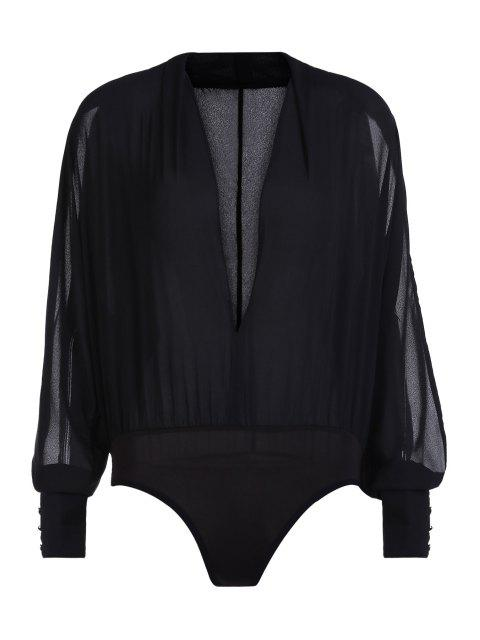 hot Solid Color V-Neck Split Sleeve Bodysuit - BLACK S Mobile