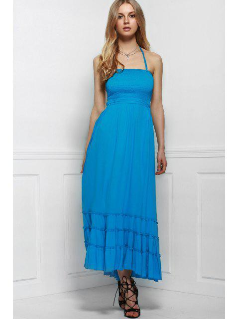 chic Solid Color Open Back Halter Sleeveless Dress - LIGHT BLUE L Mobile