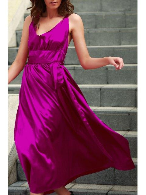 sale Silky Deep V Neck Prom Dress - ROSE M Mobile