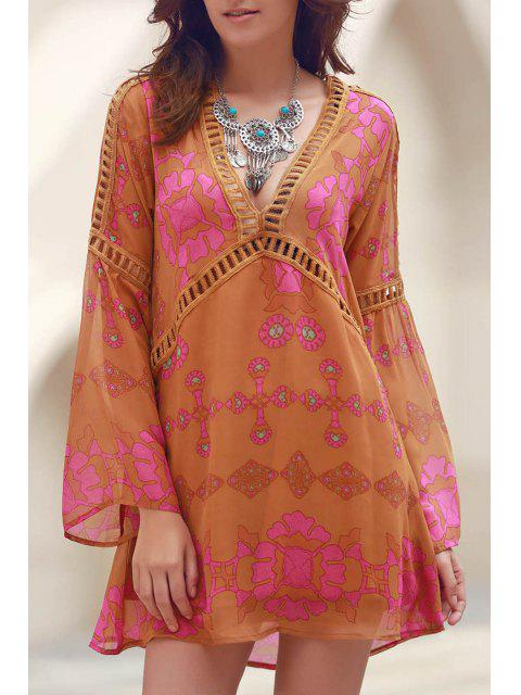 trendy Printed V-Neck Long Sleeve Lacework Splicing Dress - EARTHY S Mobile