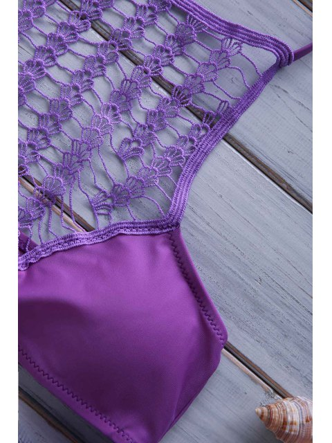 hot Crochet Spliced High Neck Bikini Set - PURPLE L Mobile
