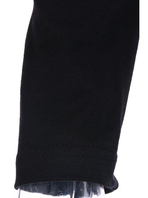 Pur Col Rond Couleur T-shirt de l'épaule froide - Noir L Mobile