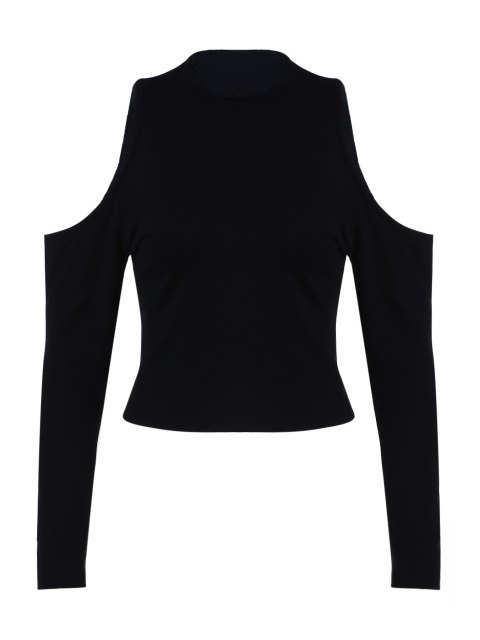 online Pure Color Round Collar Cold Shoulder T-Shirt - BLACK L Mobile