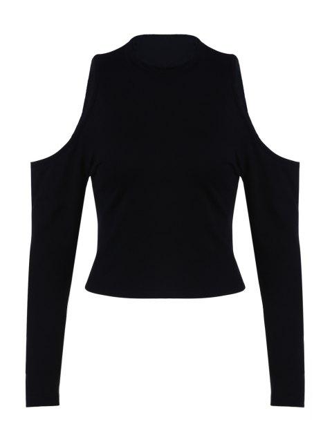 online Pure Color Round Collar Cold Shoulder T-Shirt - BLACK L Mobile