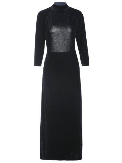 Mock Neck Long Sleeve Velvet Backless High Slit Dress