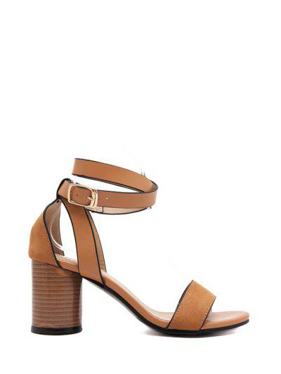 Solid Color Strap Chunky Heel Sandals - Light Brown